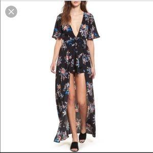 9e232967b580 Socialite Dresses - Socialite Deep Plunge Floral Maxi Romper Black XS